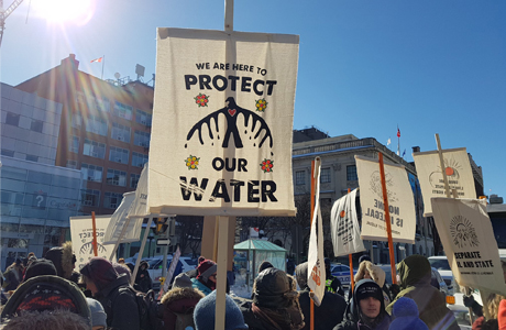 Counter-protest calls for just transition and respect for Indigenous sovereignty. Photo: Council of Canadians