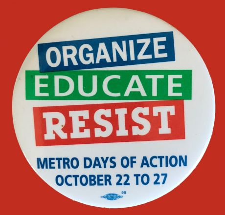 Image of the Toronto Days of Action button from October 1995