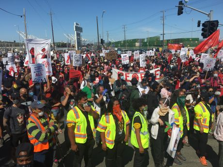 Members of the Longshore workers union shutdown the west coast ports to protest anti-black racism