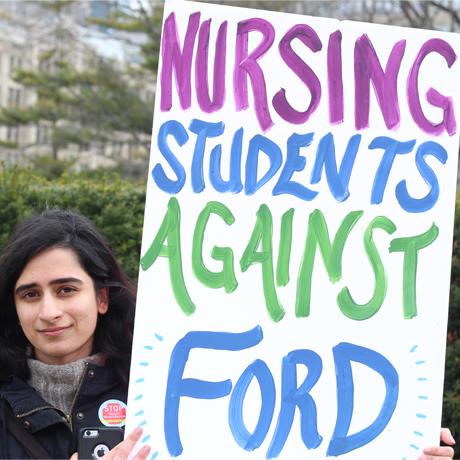 Nursing student against Ford