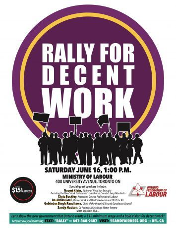 Poster for June 16 rally for decent work
