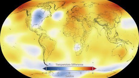 NASA map of average temperatures in 2014
