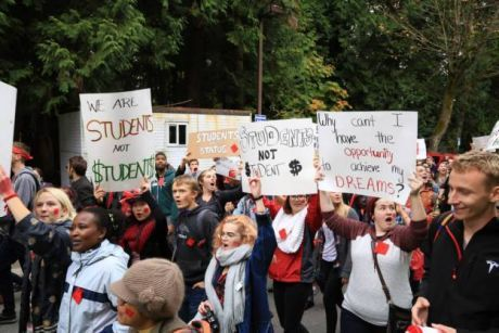Students at UBC rally
