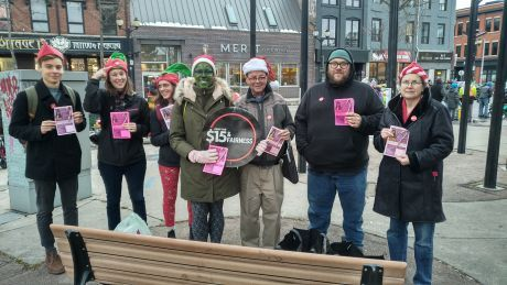 Fight for $15 and Fairness at the Hamilton Santa Claus parade