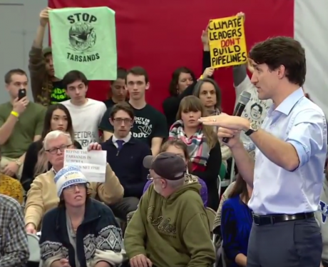 Protesters at Trudeau town hall in BC