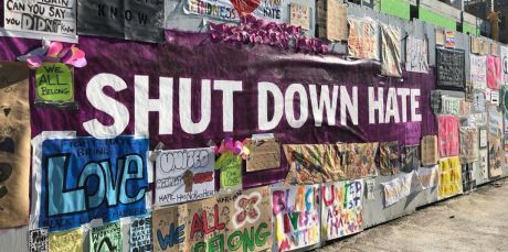 Shut Down Hate banner at Michael Garron hospital