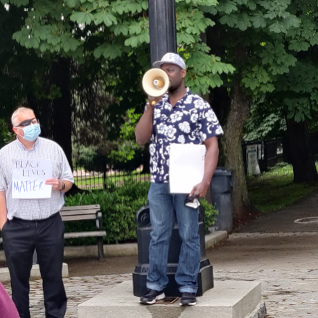 Stanley Edom addresses Black Lives Matter rally in New Westminster, BC