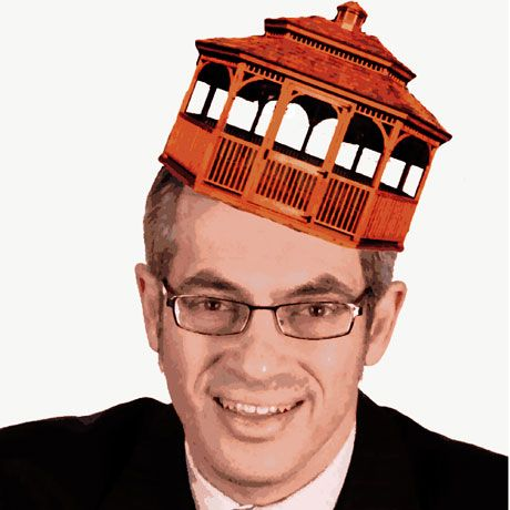 Tony Clement with gazebo as hat - by Tigana Flickr CC-BY-NC-ND-2.0
