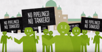 Graphic of protest against pipelines and tankers