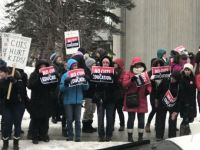 Ottawa teachers and students protest at a recent Tory fund raiser