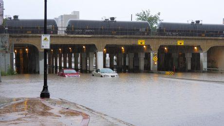 Main St in Winnipeg flooded on August 21
