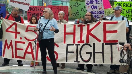Rally against the rent hikes organized by the Vancouver Tenants Union