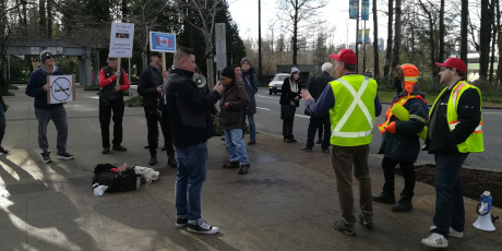 A handful of far right supporters were outnumbered by counter-protesters