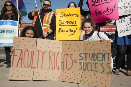 students join picket line in support of faculty