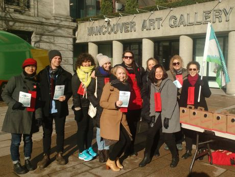 Art gallery workers on the picket line
