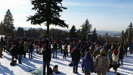 Victory  celebrations on Burnaby mountain