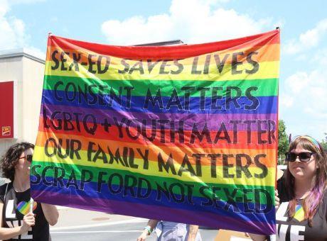 Banner at Sudbury Pride 2018